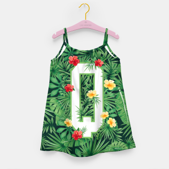 Miniaturka Capital Letter Q Alphabet Monogram Initial Flower Gardener Girl's dress, Live Heroes
