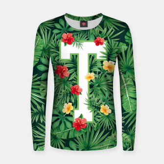 Capital Letter T Alphabet Monogram Initial Flower Gardener Women sweater thumbnail image