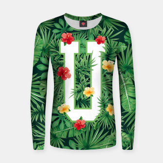 Capital Letter U Alphabet Monogram Initial Flower Gardener Women sweater thumbnail image