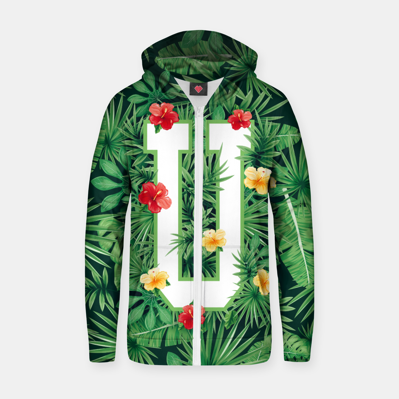 Image of Capital Letter U Alphabet Monogram Initial Flower Gardener Zip up hoodie - Live Heroes
