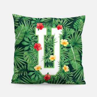 Capital Letter U Alphabet Monogram Initial Flower Gardener Pillow thumbnail image