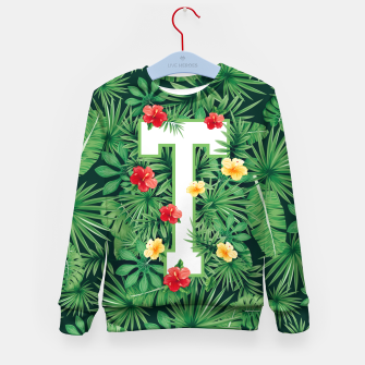 Capital Letter T Alphabet Monogram Initial Flower Gardener Kid's sweater thumbnail image