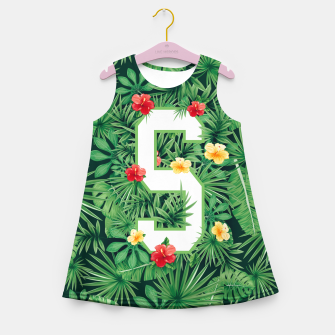 Miniaturka Capital Letter S Alphabet Monogram Initial Flower Gardener Girl's summer dress, Live Heroes