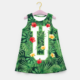 Miniaturka Capital Letter U Alphabet Monogram Initial Flower Gardener Girl's summer dress, Live Heroes