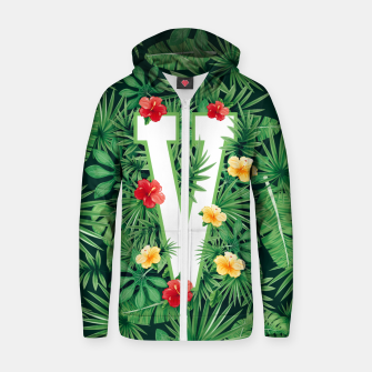 Capital Letter V Alphabet Monogram Initial Flower Gardener Zip up hoodie thumbnail image