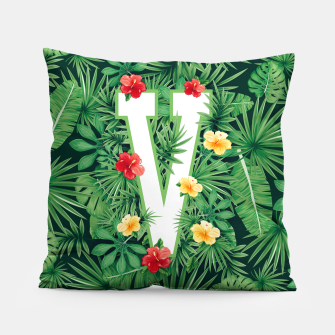 Capital Letter V Alphabet Monogram Initial Flower Gardener Pillow thumbnail image