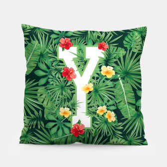 Thumbnail image of Capital Letter Y Alphabet Monogram Initial Flower Gardener Pillow, Live Heroes