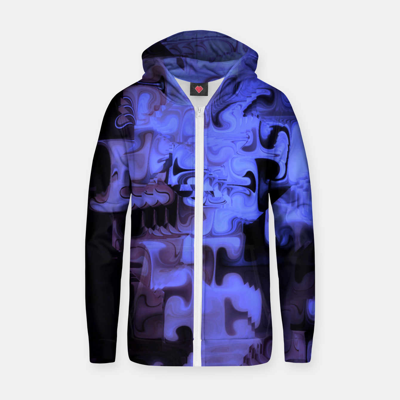 Image of Deep Sea Coastal Blues Waveflow Pattern Zip up hoodie - Live Heroes