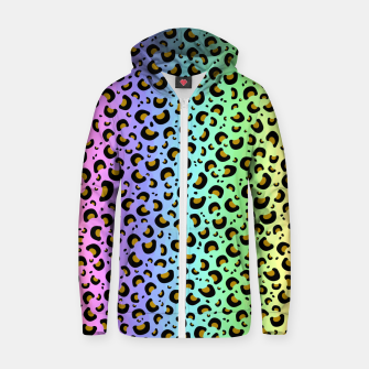 Thumbnail image of Rainbow Leopard Print Zip up hoodie, Live Heroes