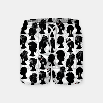 Thumbnail image of Black Woman Silhouette Swim Shorts, Live Heroes