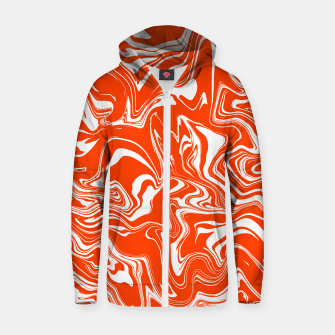 Thumbnail image of Orange and White Oil Spill Unisex Zip-Up Hoodie, Live Heroes