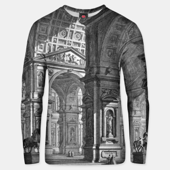 Thumbnail image of Large Sculpture Gallery Built On Arches by Giovanni Battista Piranesi Unisex sweater, Live Heroes
