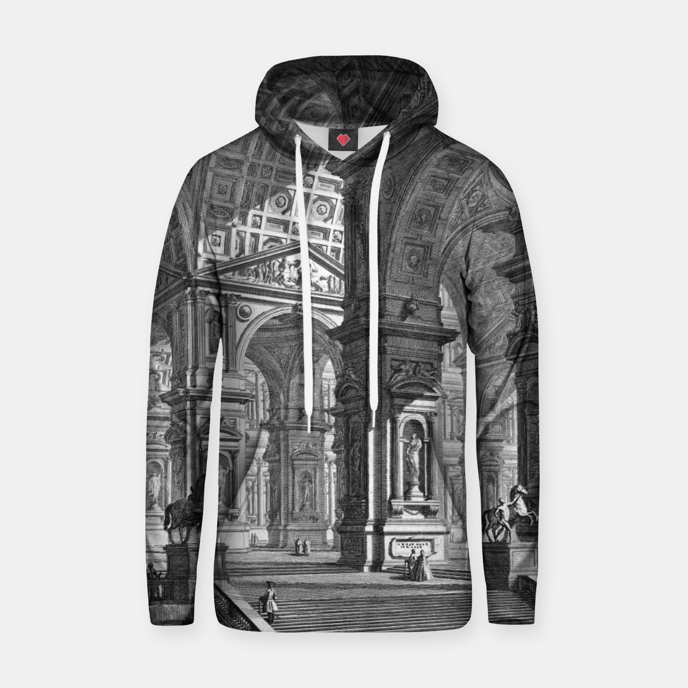 Image of Large Sculpture Gallery Built On Arches by Giovanni Battista Piranesi Hoodie - Live Heroes