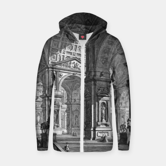 Thumbnail image of Large Sculpture Gallery Built On Arches by Giovanni Battista Piranesi Zip up hoodie, Live Heroes