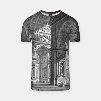 Thumbnail image of Large Sculpture Gallery Built On Arches by Giovanni Battista Piranesi T-shirt, Live Heroes