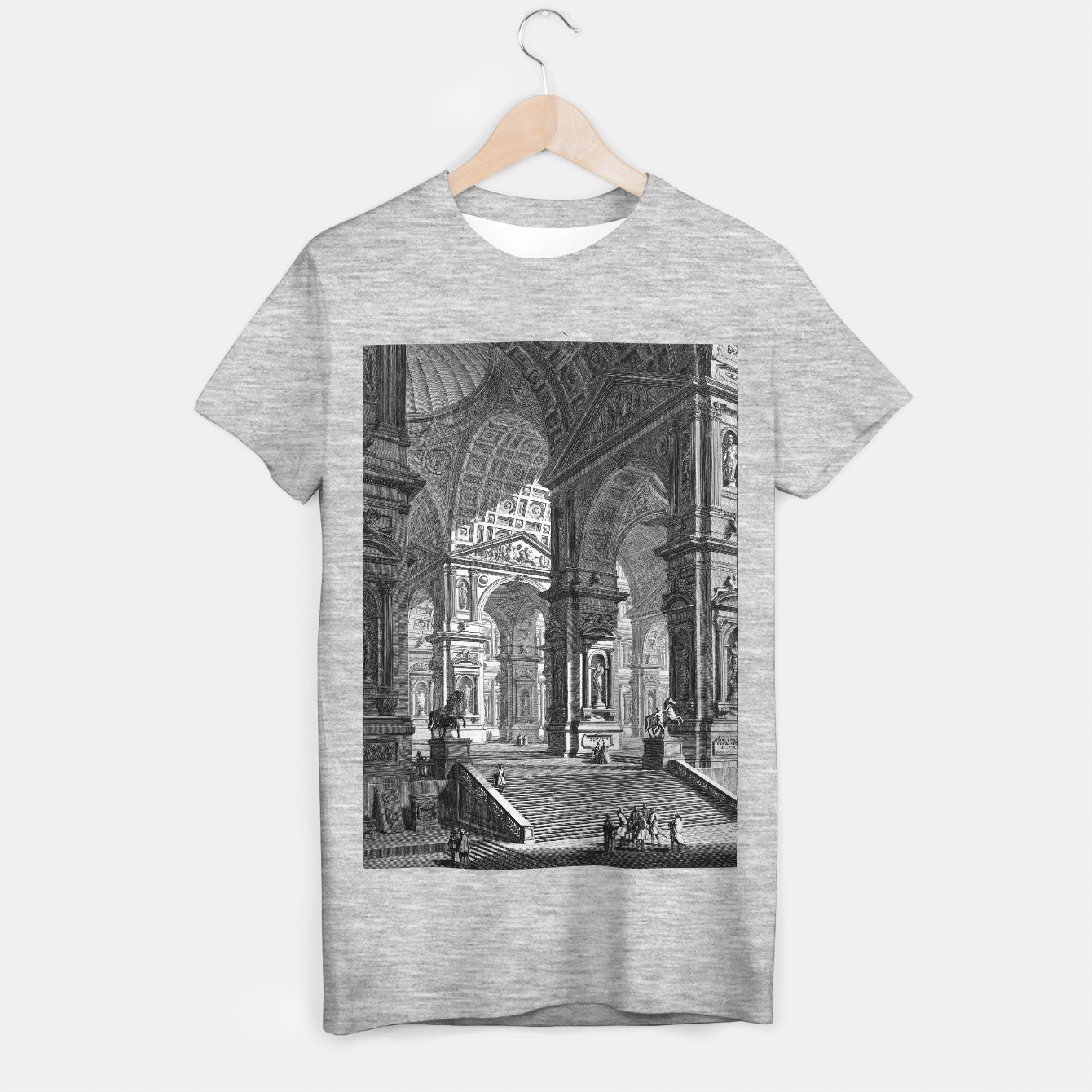 Image of Large Sculpture Gallery Built On Arches by Giovanni Battista Piranesi T-shirt regular - Live Heroes