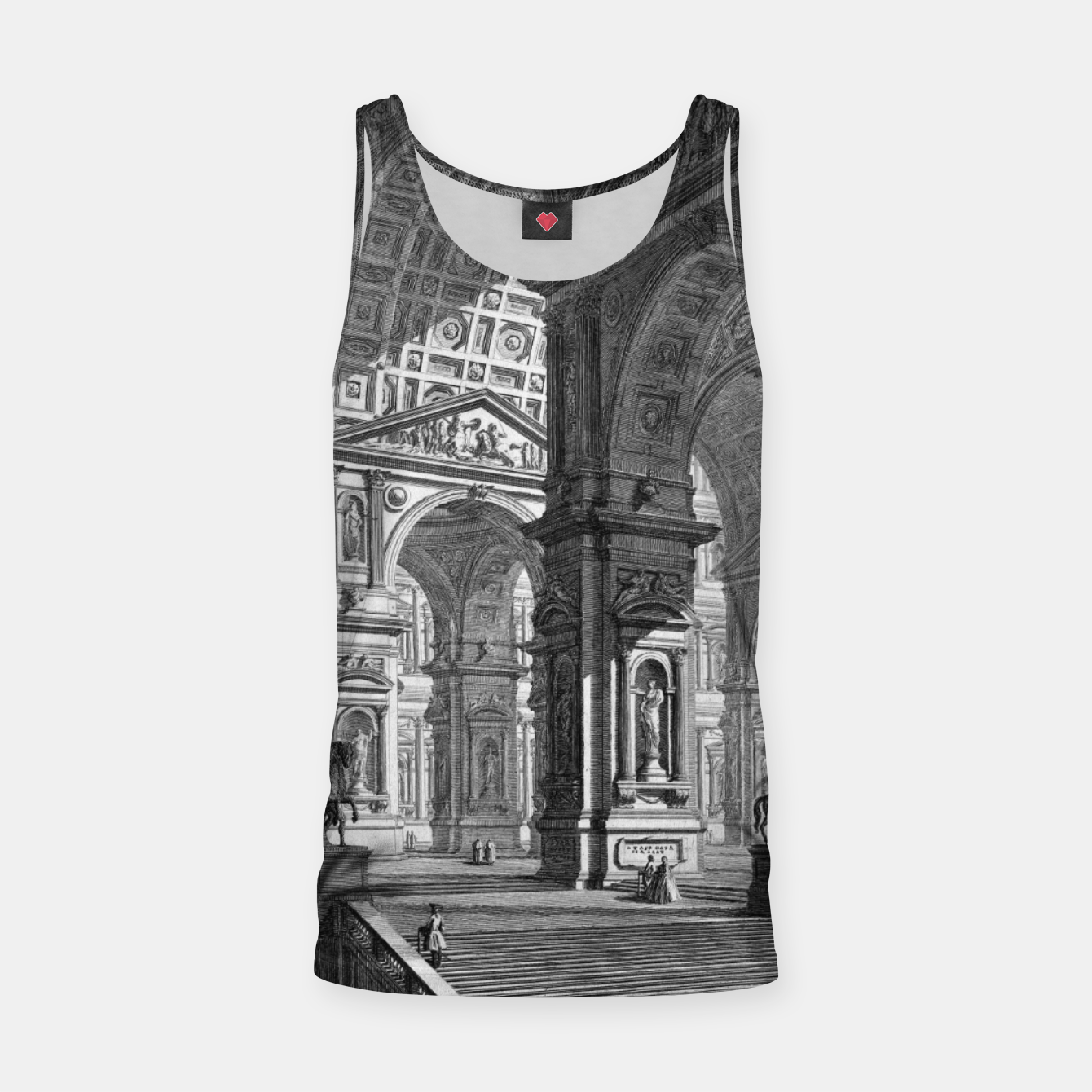 Image of Large Sculpture Gallery Built On Arches by Giovanni Battista Piranesi Tank Top - Live Heroes