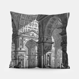 Thumbnail image of Large Sculpture Gallery Built On Arches by Giovanni Battista Piranesi Pillow, Live Heroes