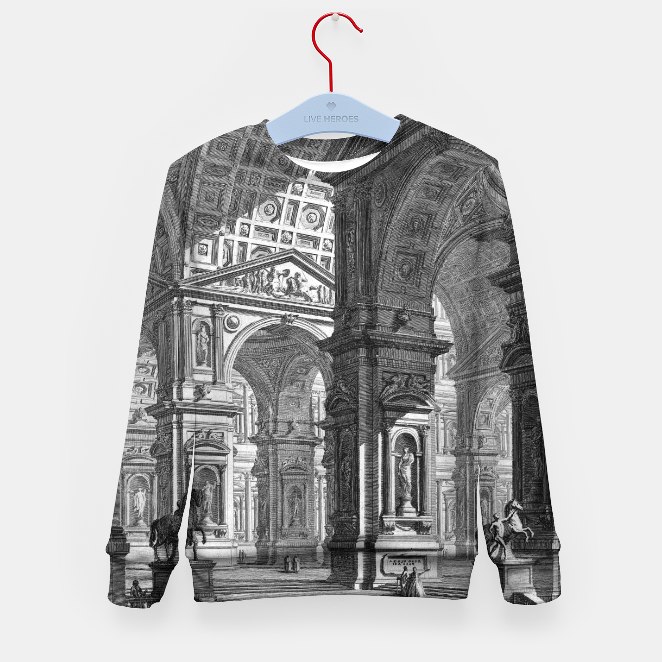 Image of Large Sculpture Gallery Built On Arches by Giovanni Battista Piranesi Kid's sweater - Live Heroes