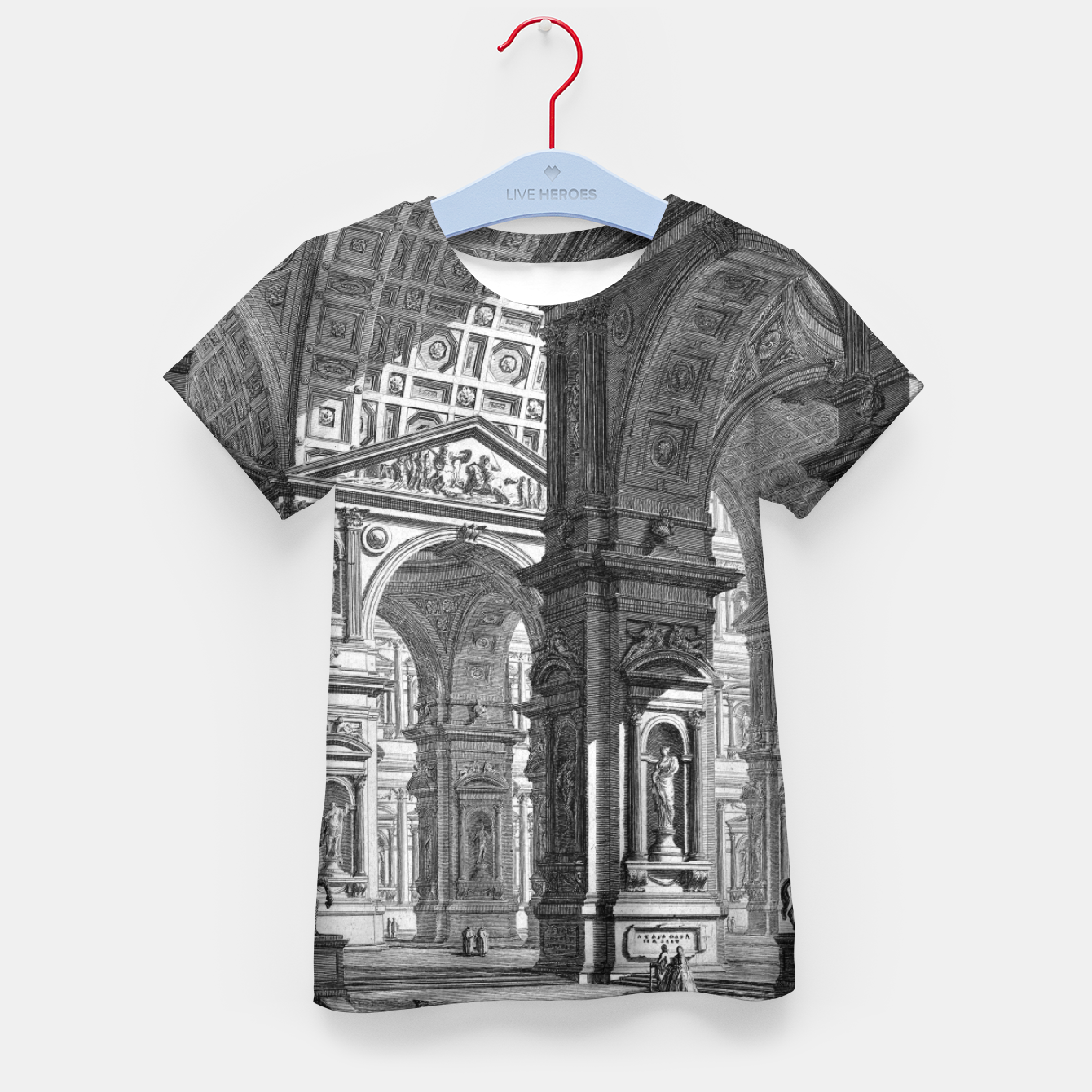 Image of Large Sculpture Gallery Built On Arches by Giovanni Battista Piranesi Kid's t-shirt - Live Heroes