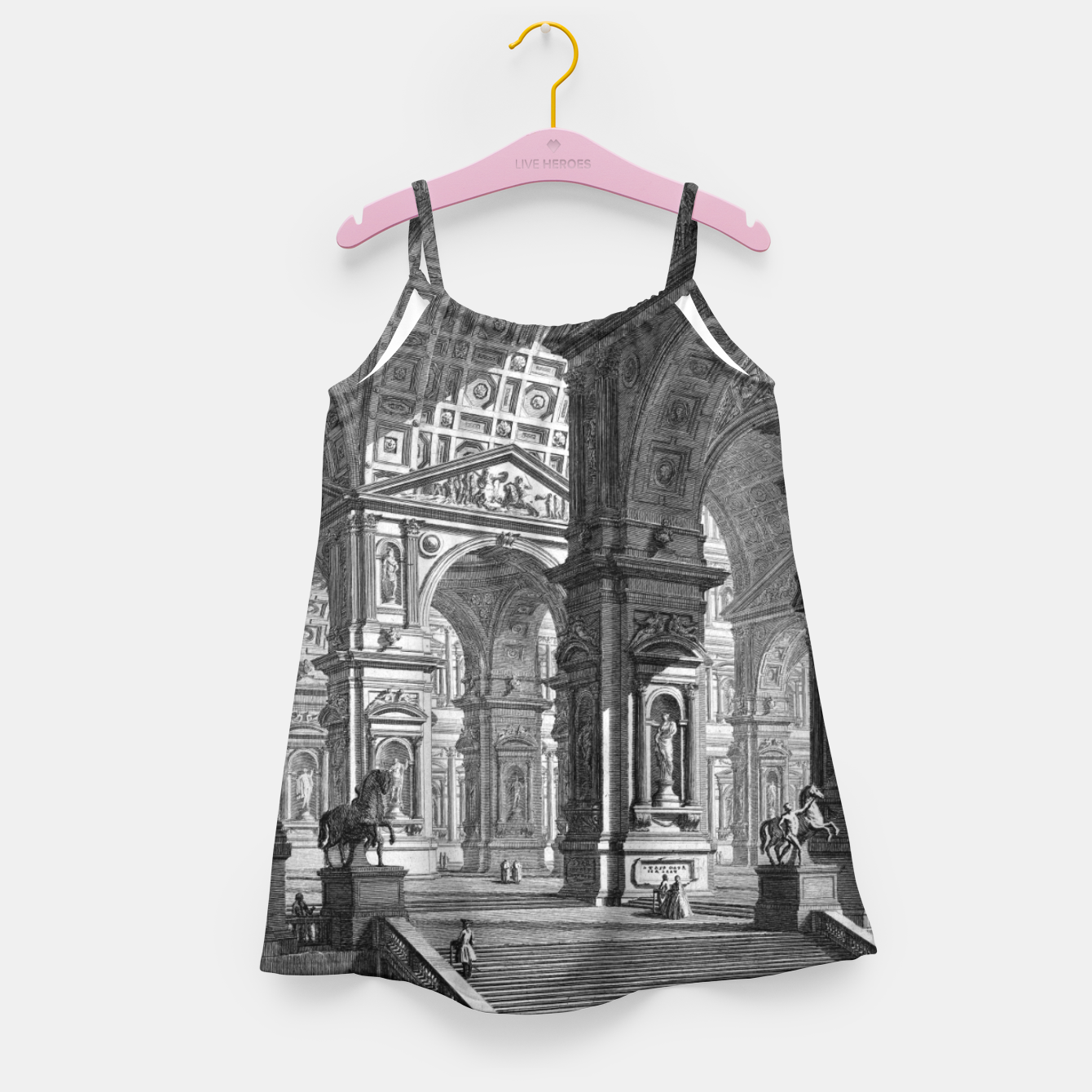 Image of Large Sculpture Gallery Built On Arches by Giovanni Battista Piranesi Girl's dress - Live Heroes