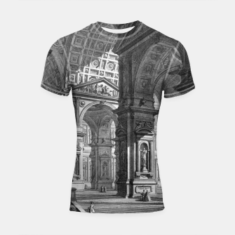 Thumbnail image of Large Sculpture Gallery Built On Arches by Giovanni Battista Piranesi Shortsleeve rashguard, Live Heroes