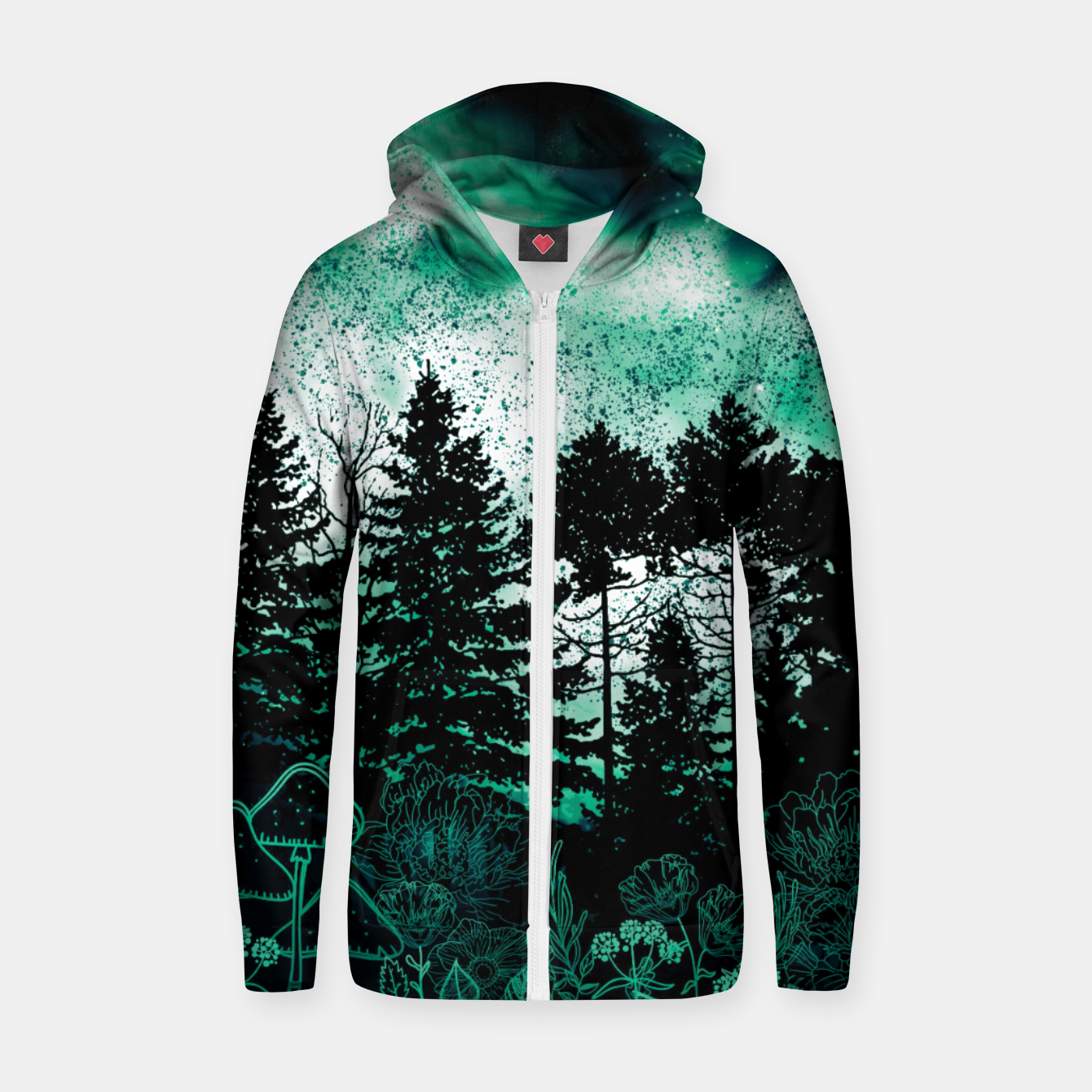 Image of GREEN FOREST Zip up hoodie - Live Heroes