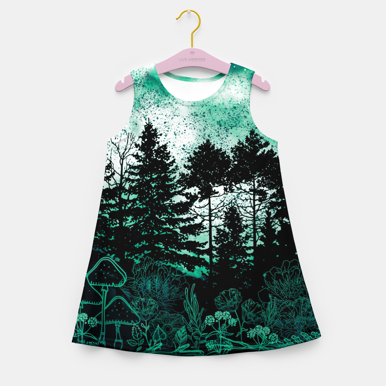 Image of GREEN FOREST Girl's summer dress - Live Heroes