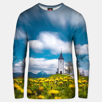Thumbnail image of Dandelion flowers at church of st primus Jamnik Slovenia Unisex sweater, Live Heroes