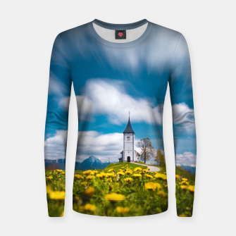Miniatur Dandelion flowers at church of st primus Jamnik Slovenia Women sweater, Live Heroes
