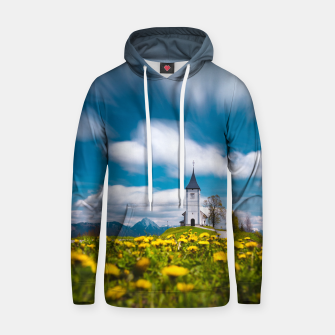 Miniatur Dandelion flowers at church of st primus Jamnik Slovenia Hoodie, Live Heroes