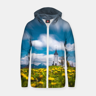 Miniatur Dandelion flowers at church of st primus Jamnik Slovenia Zip up hoodie, Live Heroes