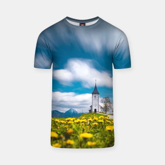 Thumbnail image of Dandelion flowers at church of st primus Jamnik Slovenia T-shirt, Live Heroes
