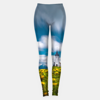 Miniatur Dandelion flowers at church of st primus Jamnik Slovenia Leggings, Live Heroes