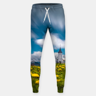 Miniatur Dandelion flowers at church of st primus Jamnik Slovenia Sweatpants, Live Heroes