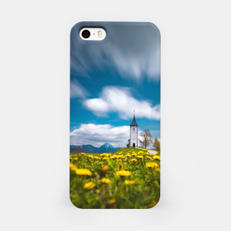Miniatur Dandelion flowers at church of st primus Jamnik Slovenia iPhone Case, Live Heroes