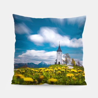 Miniatur Dandelion flowers at church of st primus Jamnik Slovenia Pillow, Live Heroes