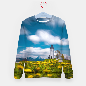 Miniatur Dandelion flowers at church of st primus Jamnik Slovenia Kid's sweater, Live Heroes