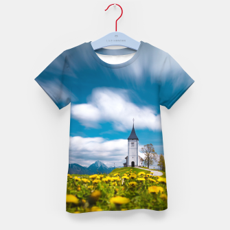 Thumbnail image of Dandelion flowers at church of st primus Jamnik Slovenia Kid's t-shirt, Live Heroes