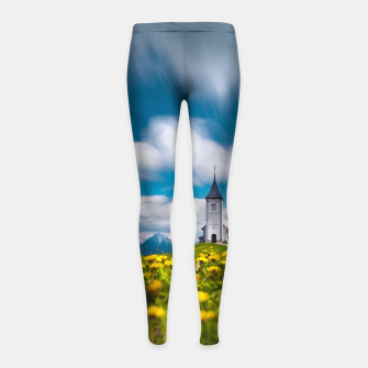 Miniatur Dandelion flowers at church of st primus Jamnik Slovenia Girl's leggings, Live Heroes