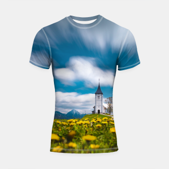 Miniatur Dandelion flowers at church of st primus Jamnik Slovenia Shortsleeve rashguard, Live Heroes