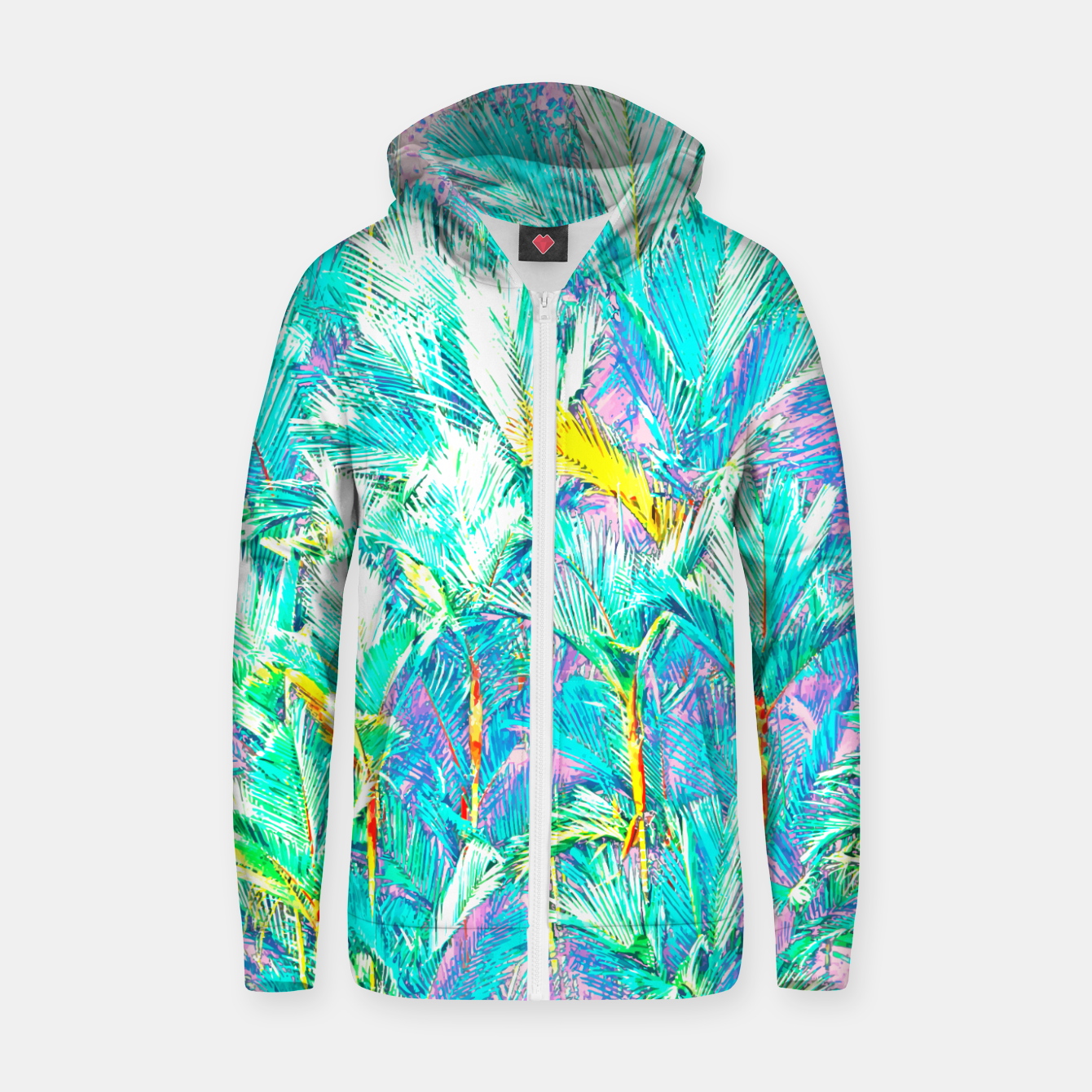 Image of Palm Garden, Tropical Nature Jungle Painting Zip up hoodie - Live Heroes