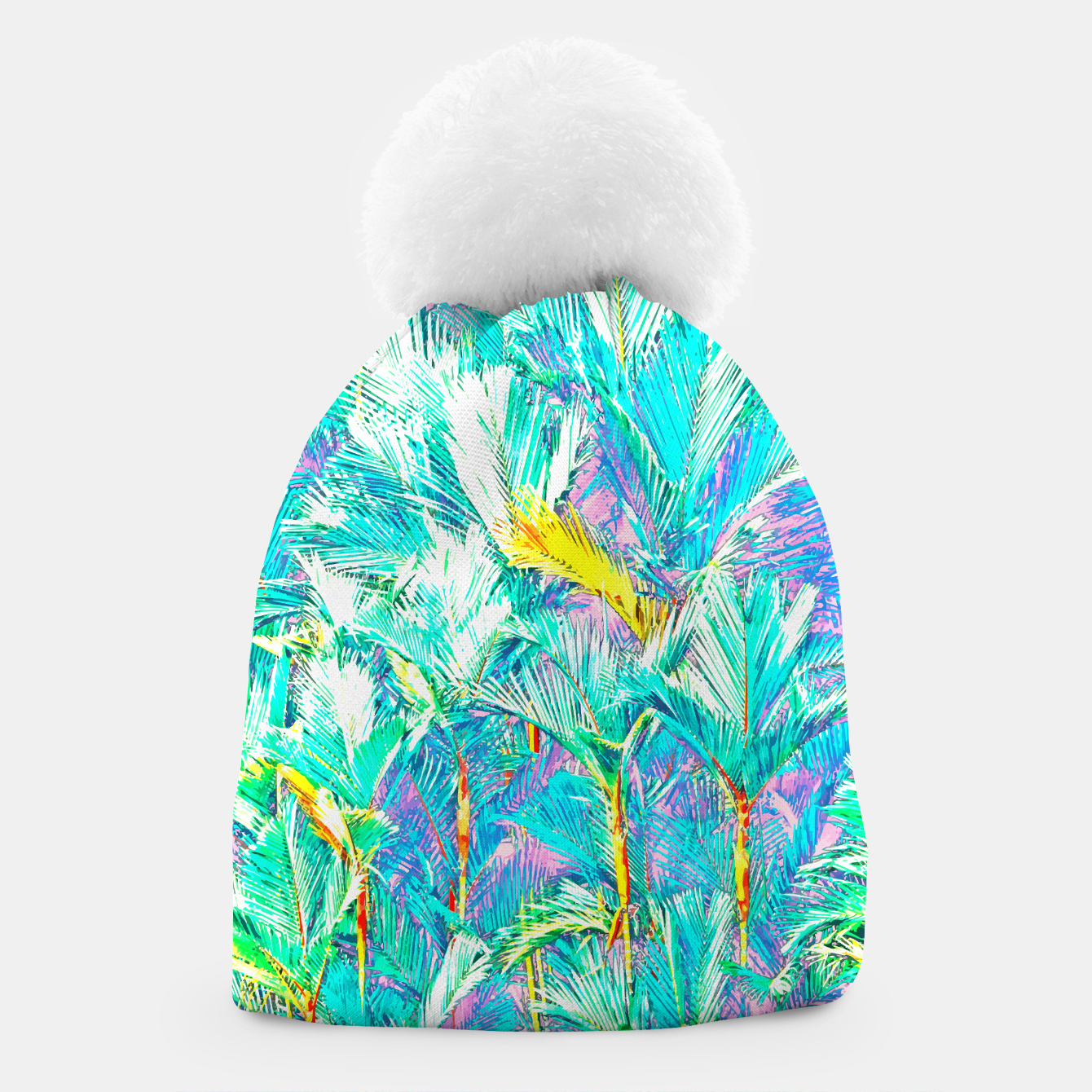 Image of Palm Garden, Tropical Nature Jungle Painting Beanie - Live Heroes