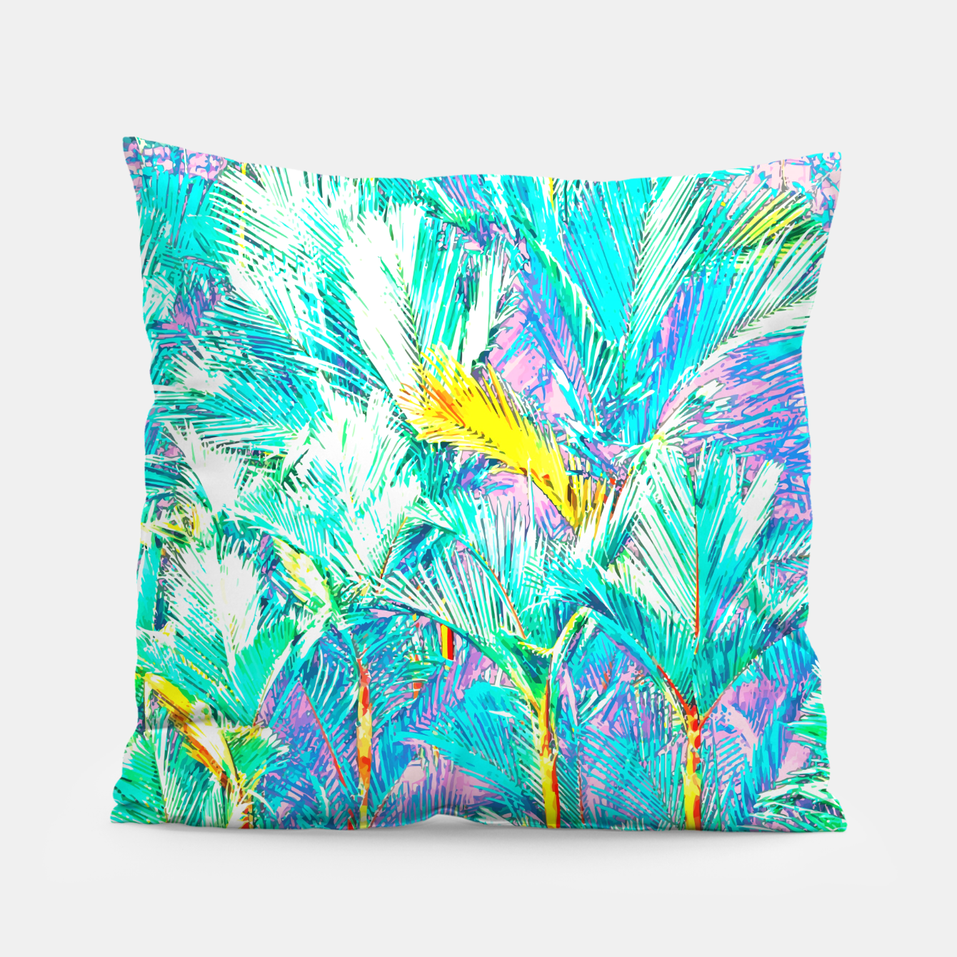 Image of Palm Garden, Tropical Nature Jungle Painting Pillow - Live Heroes