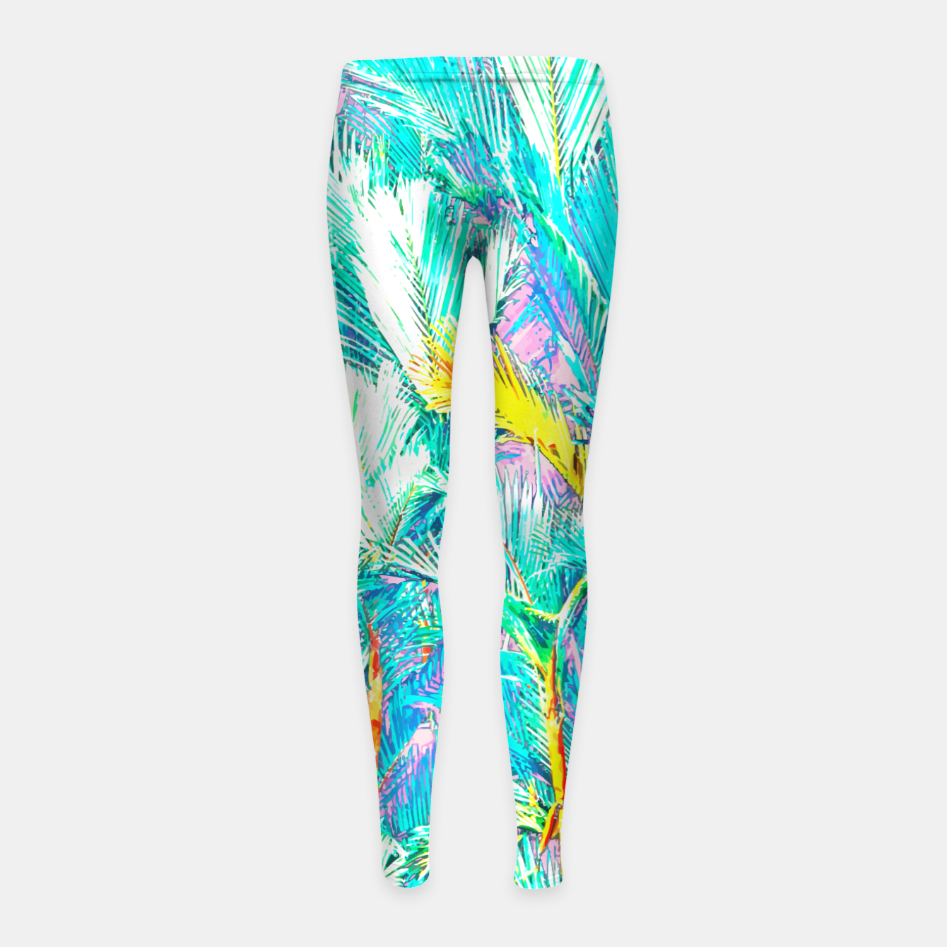 Image of Palm Garden, Tropical Nature Jungle Painting Girl's leggings - Live Heroes