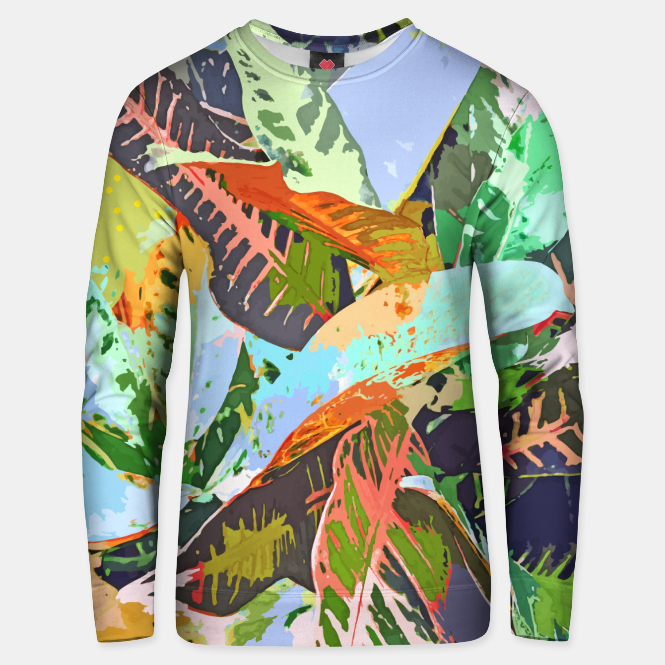 Image of Jungle Plants, Tropical Nature Dark Botanical Illustration, Eclectic Colorful Forest Painting  Unisex sweater - Live Heroes