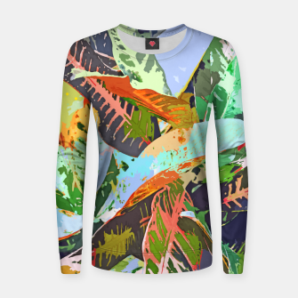 Thumbnail image of Jungle Plants, Tropical Nature Dark Botanical Illustration, Eclectic Colorful Forest Painting  Women sweater, Live Heroes
