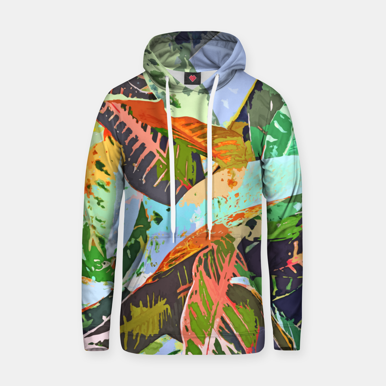 Image of Jungle Plants, Tropical Nature Dark Botanical Illustration, Eclectic Colorful Forest Painting  Hoodie - Live Heroes