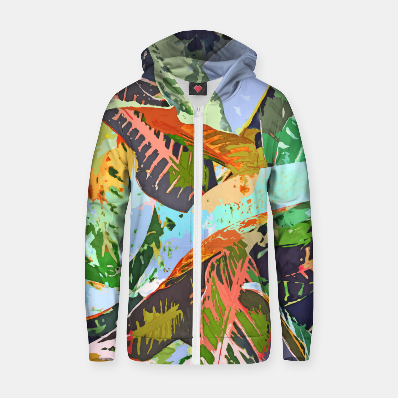 Image of Jungle Plants, Tropical Nature Dark Botanical Illustration, Eclectic Colorful Forest Painting  Zip up hoodie - Live Heroes