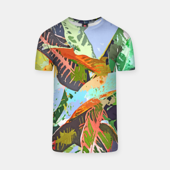 Thumbnail image of Jungle Plants, Tropical Nature Dark Botanical Illustration, Eclectic Colorful Forest Painting  T-shirt, Live Heroes